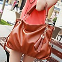 Womens Korean Fashion Style Black And Brown Leather Tassel Totes Handbag