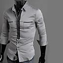 camisa de manga larga cuello de la camisa del color del contraste de Hengyi hombres