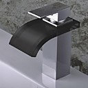 Contemporary Single  Handle One Hole Tall Waterfall Bathroom Glass Basin Faucet