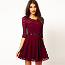 BLK delgado vestido de encaje de Todo-Fósforo de la cintura del vestido corto