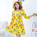 Womens Yellow Long Sleeve Chiffon Dress