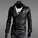GMIG Mens Long Sleeve Slim Lapel Neck Leather Jackets