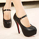 Leather Womens Shoes Mary Jane Stiletto Heel Shoes with Buckle