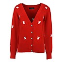 Womens Sweet Cat Printing Cardigan Knit Sweater