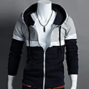 UF Mens Joint Color Bodycon Long Sleeve Cardigan Hoodie Coat