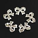 10pcs Bling Charm Bowknot Clear Rhinestones White Drip Oil 3D Alloy Nail Art Decoration