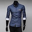 Zian Mens Shirt Collar Fashion Slim Pocket Leather Design Solid Color Casual Long Sleeve Denim Shirt O