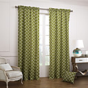 (Two Panels Rod Pocket) Olive Green Trellis Cotton Canvas Curtain Panels