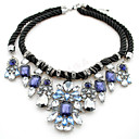 Hohot Womens Western New Stylw Diamond Double Layers Handmade Weave Rope Necklace