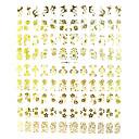 108pcs patrón de flores mixtas de uñas de metal dorado etiquetas engomadas del arte