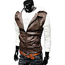 REVERIE UOMO England Style Silm dress PU Leather Knitwear Tops