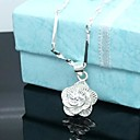 Lucky Doll Womens Silver Rose Necklace