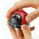 "Lovely Ladybug Shaped Mechanical Kitchen Timer, Plastic 2.4""x2.4""x1.6"