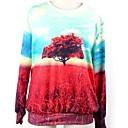 Womens O-neck Loose Casual Tree Print Long Sleeve Sweatshirts
