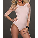 Womens Baby Pink Lace Sleeves Teddy Lingerie