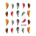 Hot Sale Colorful Water Transfer Feather DIY Nail Art Decals Stickers Tips