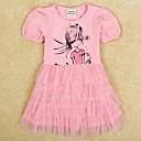 Kids Round Collar Summer Mesh Cupcake Dress Cute Girl Print Short Sleeve Girl Dress