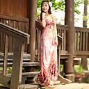 Womens Deep V-Neck Bohemian Sling Backless Sleeveless Beach Maxi Dresses