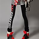 Womens Fashion Punk Red-white Letters Printing Slim Legging