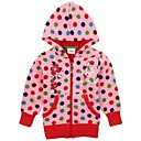 Kids Fashion Jackets with Hoodie Overall Polka Dots Print Floral Embroidery Long Sleeve Girls Coats