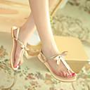 zapatos de mujer de tacón Sandalias planas t-correa con zapatos pajarita de oro (más colores disponibles)