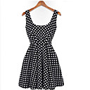 Nine Women's A-Line Polka Dots Sleeveless Dress