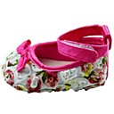 Cotton Girls Flat Heel Round Toe and Ankle Strap Flats with Bowknot and Flower Shoes