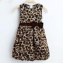 Girls 2 Layers Leopard Print Cotton Bow Lantern Sundress Kids Clothing Party Birthday Dress
