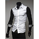 Camisa Casual costuras de color de manga larga Kuxing hombres (Negro)