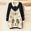 Womens Round Cartoon Cat Print Loose Pullover Knitwear Sweater