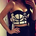 Womens Sexy Bodycon Cat Eyes Strapless Bandage Crop Top