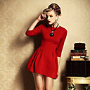 Nine Women's A-Line Solid Color 3/4 Sleeve Dress