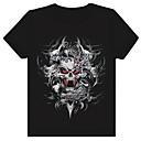 Mens Round Neck Noctilucent 3D Red-Eye Skull Print Cotton T-Shirt