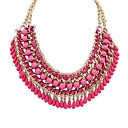 Womens Ethnic Style Layers Weaved Exaggeration Drops Assemble Bib Statement Necklace (More Colors)(1 pc)