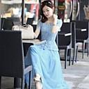 Womens Summer Round Lace button Chiffon Midi Slim Dress