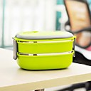 Stainless Steel Rectangular Double-deck Insulated Lunch Box With Inner Carton,Color Random19x15x11.4cm