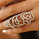 Fully Diamante Hollow Out Rose Style Elastic Movable Joint Ring (More Colors)