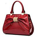 Mountain European Bowknot Bright Leather Single Shoulder Handbag(Red,Black)