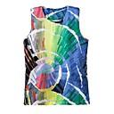Womens Round Collar Painting Print Sleeveless T-shirt