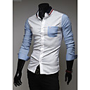 Camisa Casual costuras de color de manga larga Kuxing Hombre (Blanco)