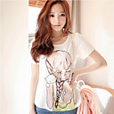 SW Women's Adorable Young Girl Braid Print Diamond Short Sleeve T-shirt