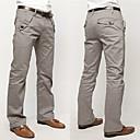 Fxfs color sólido rectos ocasionales del algodón de los pantalones largos