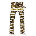 Mens Fashion Gold Lion Belt Print Denim Jeans