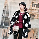 Flower-shaped Thick Long Sleeve Collarless Faux Fur Coat(More Colors)