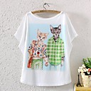 Womens Short Sleeve Batwing Animal Graphic Printed T Shirt