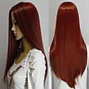 New Cosplay Long Dark Red Mixed Straight Human Manufacture Hair Wig