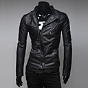 Zian Mens Stand Collar Fashion Dual Zippers Casual Placket Slim Leather Bike Jacket O