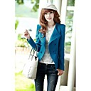 Womens Pure Color Warm Woolen Double Breasted Short Coat