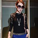 De cuello redondo de manga larga JFS Women 'Contraste Lace Equipada camisa de la gasa sin collar