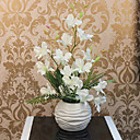 18H White Purple Orchid Arrangement with Ball Vase